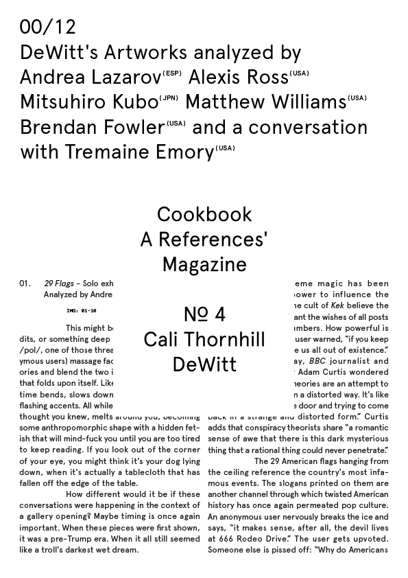 Cookbook N.º 4 Cali Thornhill DeWitt 00/12